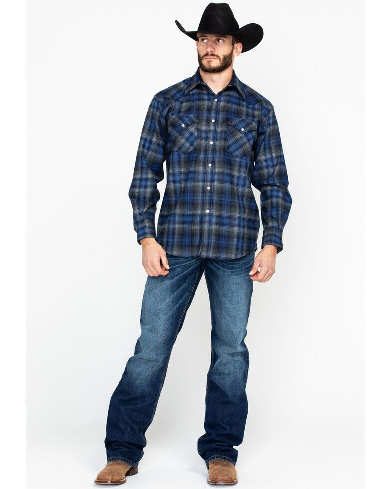 Pendleton Men S Blue Canyon Plaid Long Sleeve Western Flannel Shirt