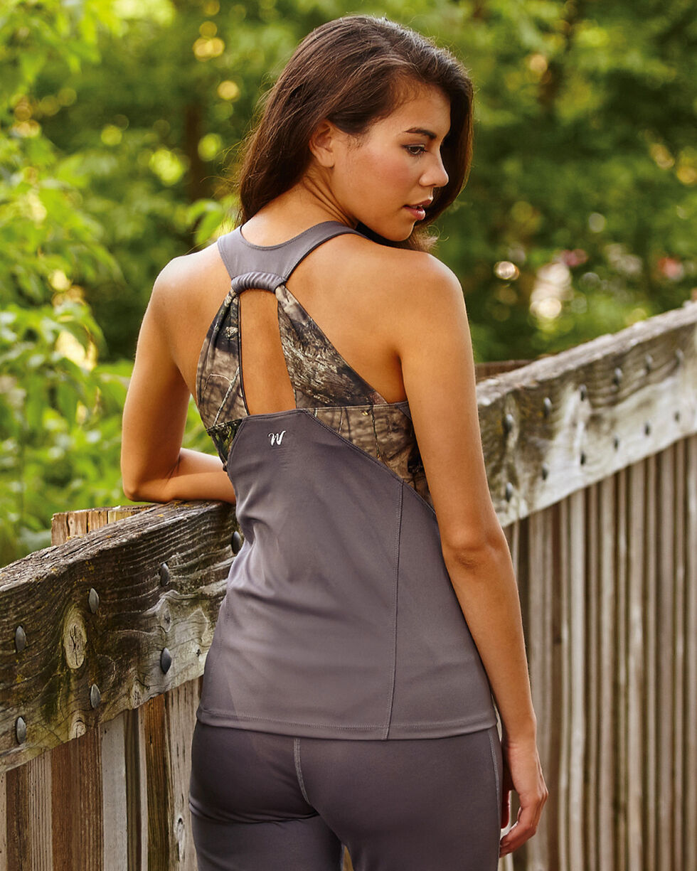 Wilderness Dreams Mossy Oak Break-Up Country Gunmetal Gray Active Fitted Tank, Gunmetal, hi-res
