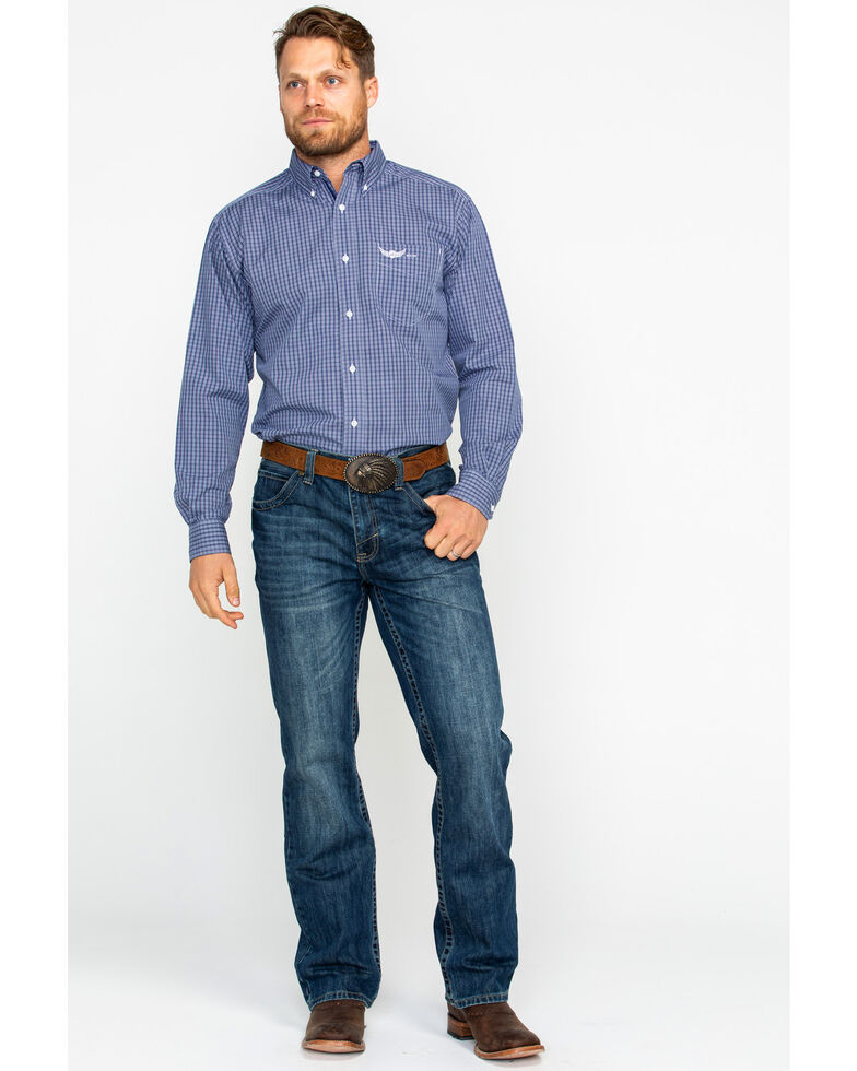 Ariat Men's Honorable Small Plaid Long Sleeve Western Shirt , Blue, hi-res
