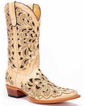 Shyanee Women's Sarah Laser Cutout Western Boots - Snip Toe, Natural, hi-res