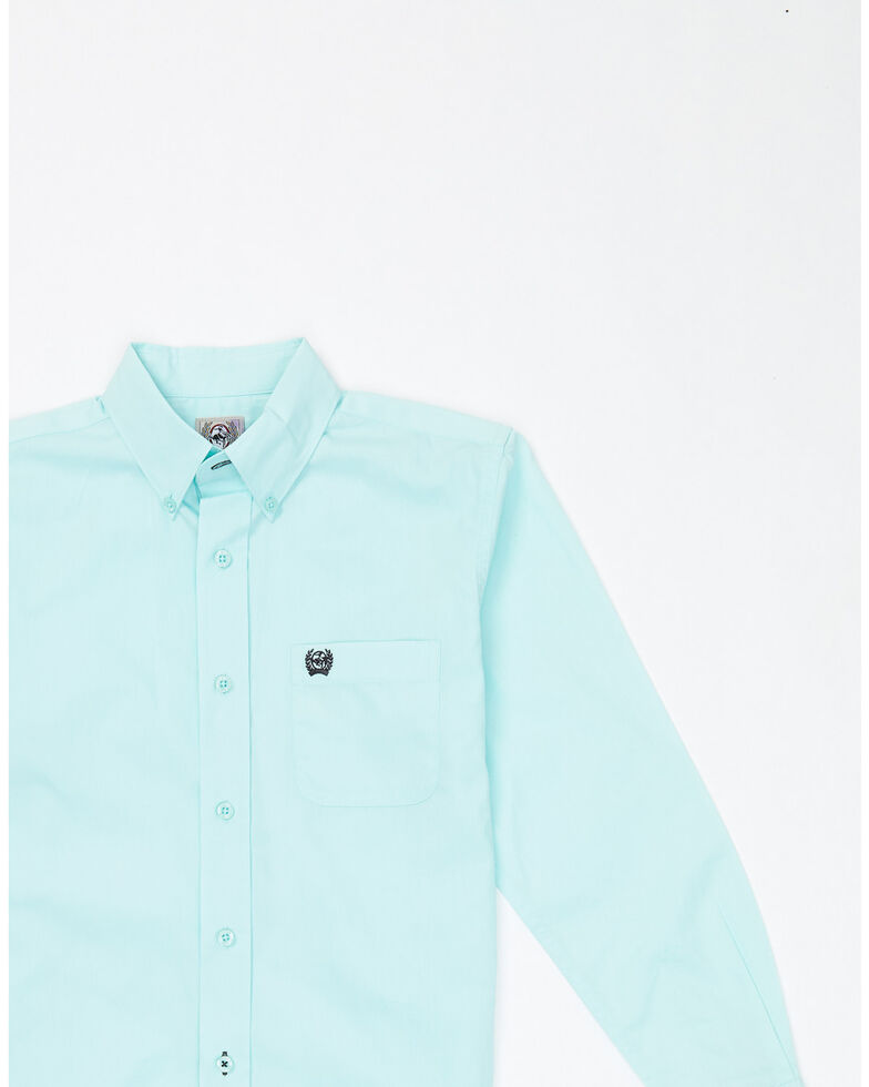 Cinch Boys' Solid Teal Button Long Sleeve Western Shirt , Light Blue, hi-res