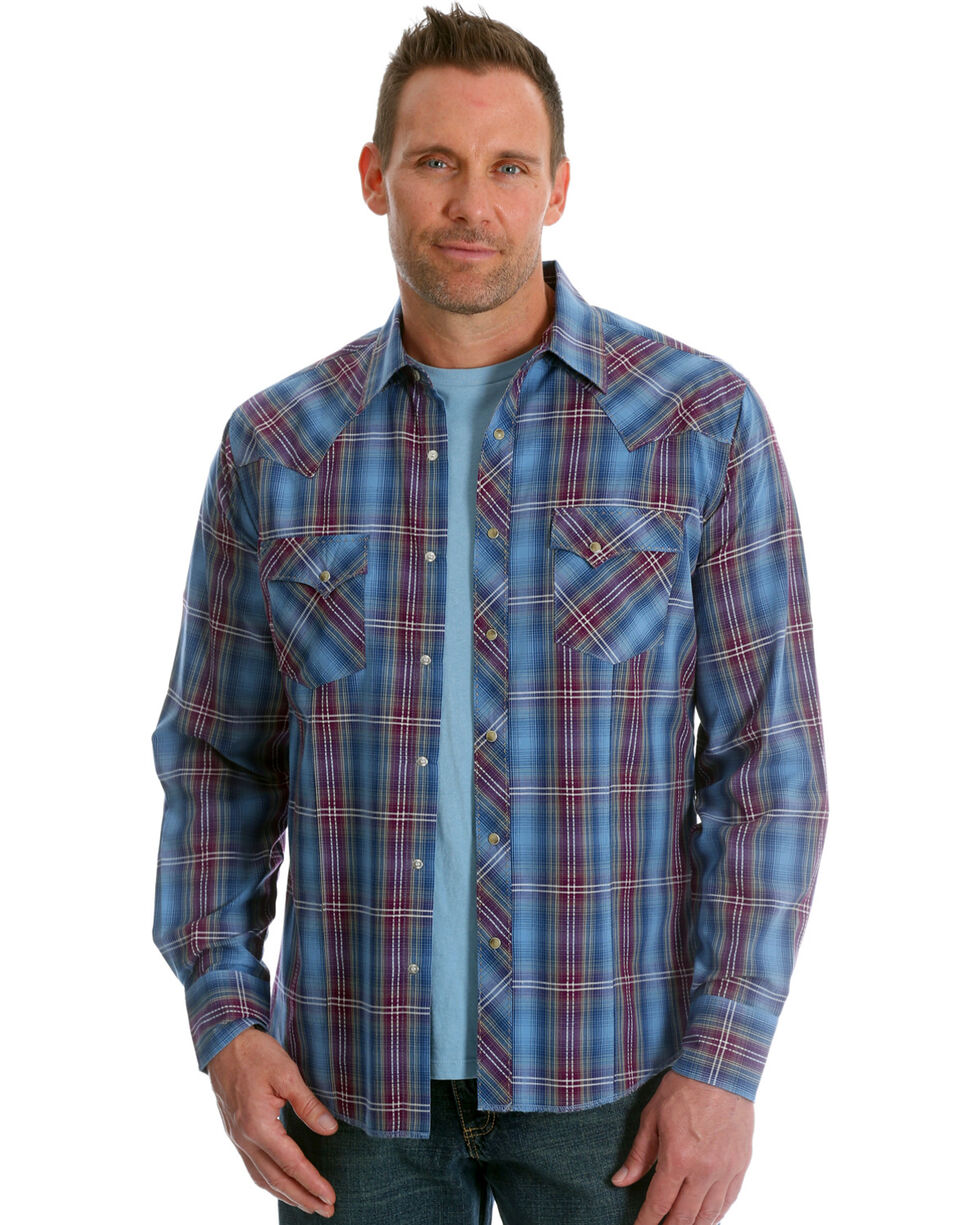 Wrangler Men's Blue/Burgundy Plaid Long Sleeve Fashion Snap Shirt, Blue, hi-res