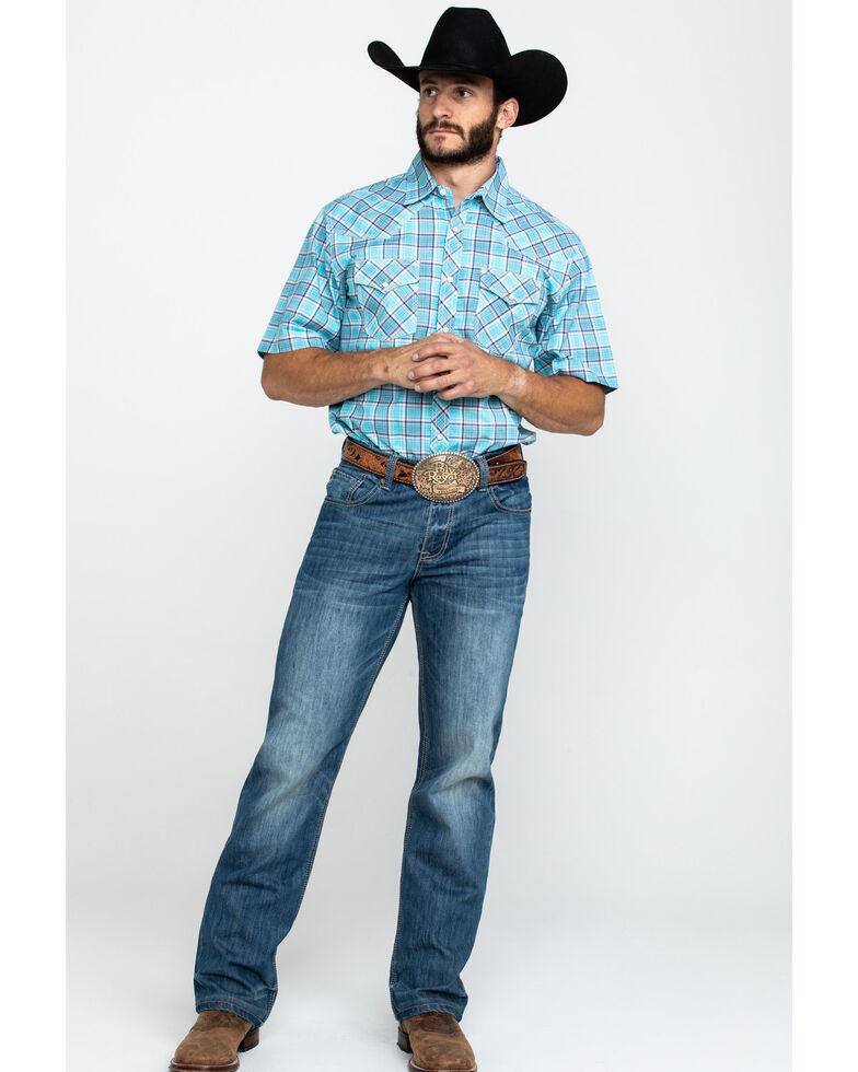 Wrangler 20X Men's Advanced Comfort Light Blue Plaid Long Sleeve Western Shirt , Light Blue, hi-res