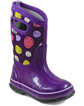 Bogs Girls' Classic Sketched Dots Waterproof Boots - Round Toe, Purple, hi-res