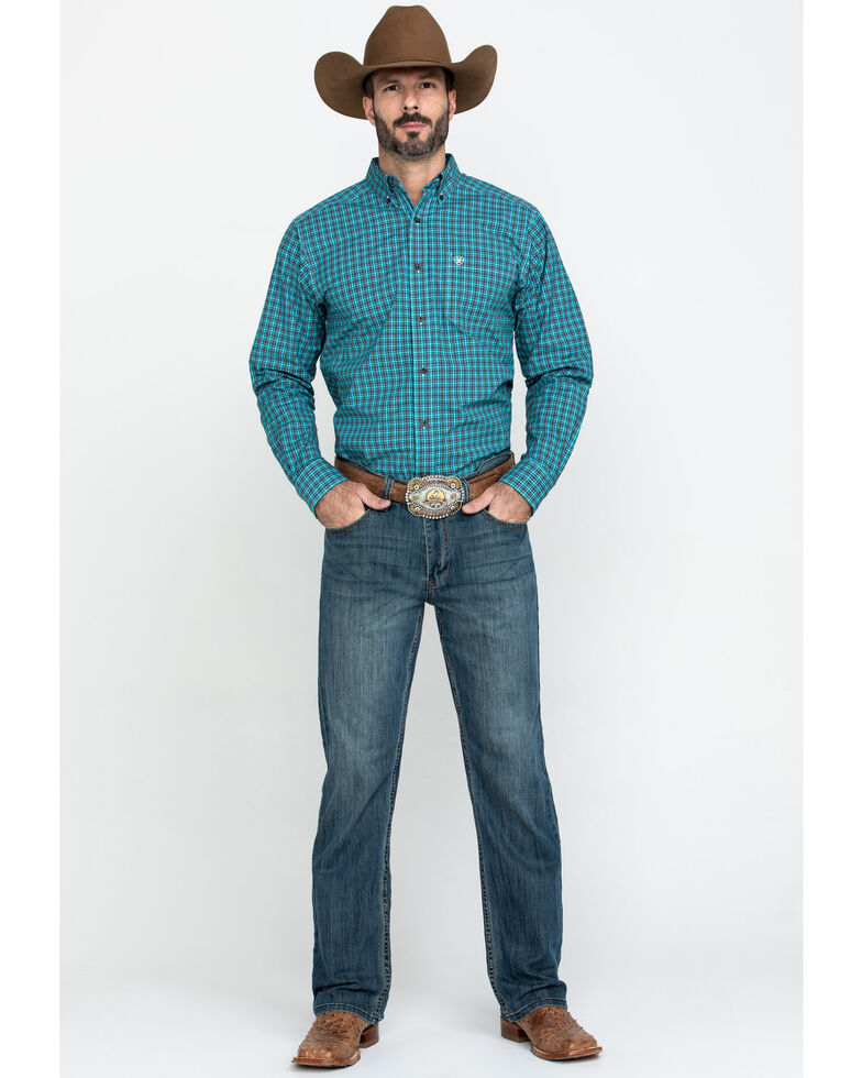 Ariat Men's Ozark Multi Small Plaid Fitted Long Sleeve Western Shirt , Multi, hi-res