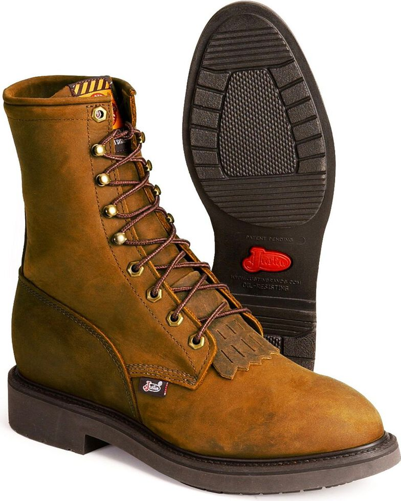 """Justin Men's 8"""" Lace Up Steel Toe Work Boots, Brown, hi-res"""