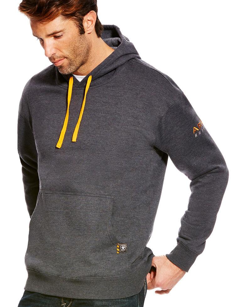 Ariat Men's Rebar Logo Hooded Work Sweatshirt - Big & Tall, Charcoal, hi-res