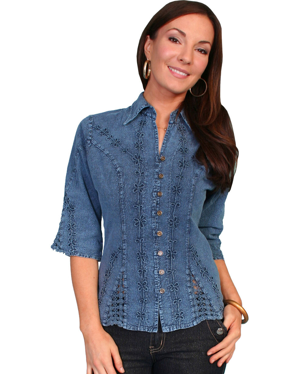 Scully Women's 3/4 Sleeve Blouse, Dark Blue, hi-res