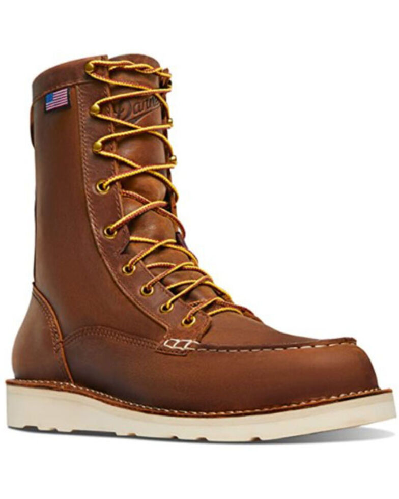 Danner Men's Bull Run Lace-Up Work Boots - Steel Toe, Brown, hi-res