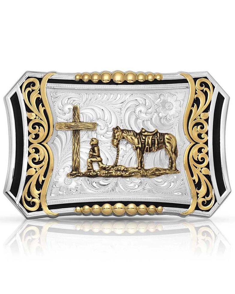 Montana Silversmiths Men's Deep Roots Filigree Buckle With Christian Cowboy, Silver, hi-res