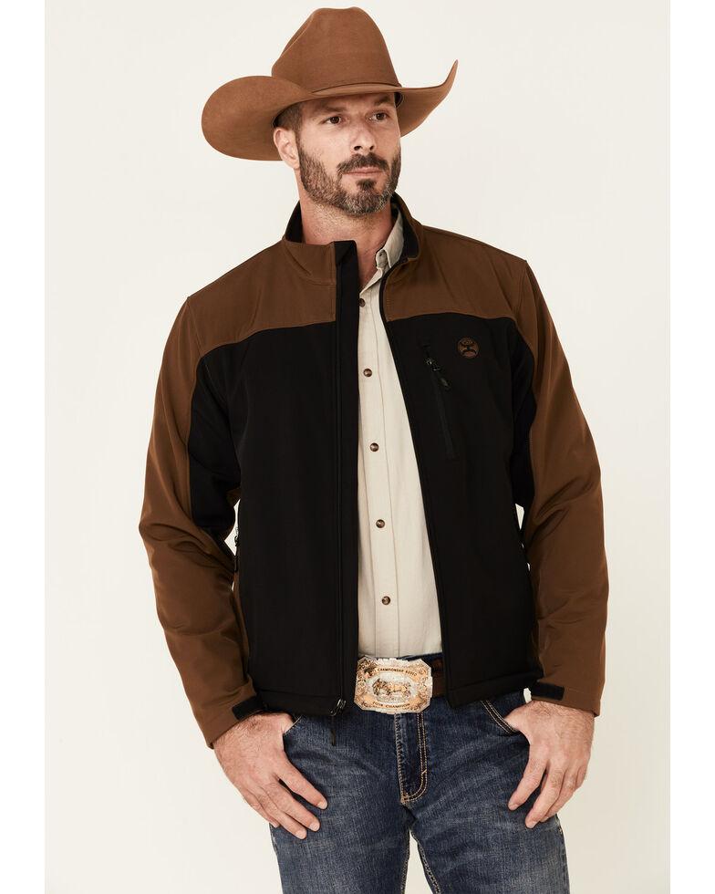 HOOey Men's Black & Brown Color-Block Zip-Front Softshell Jacket , Black/brown, hi-res