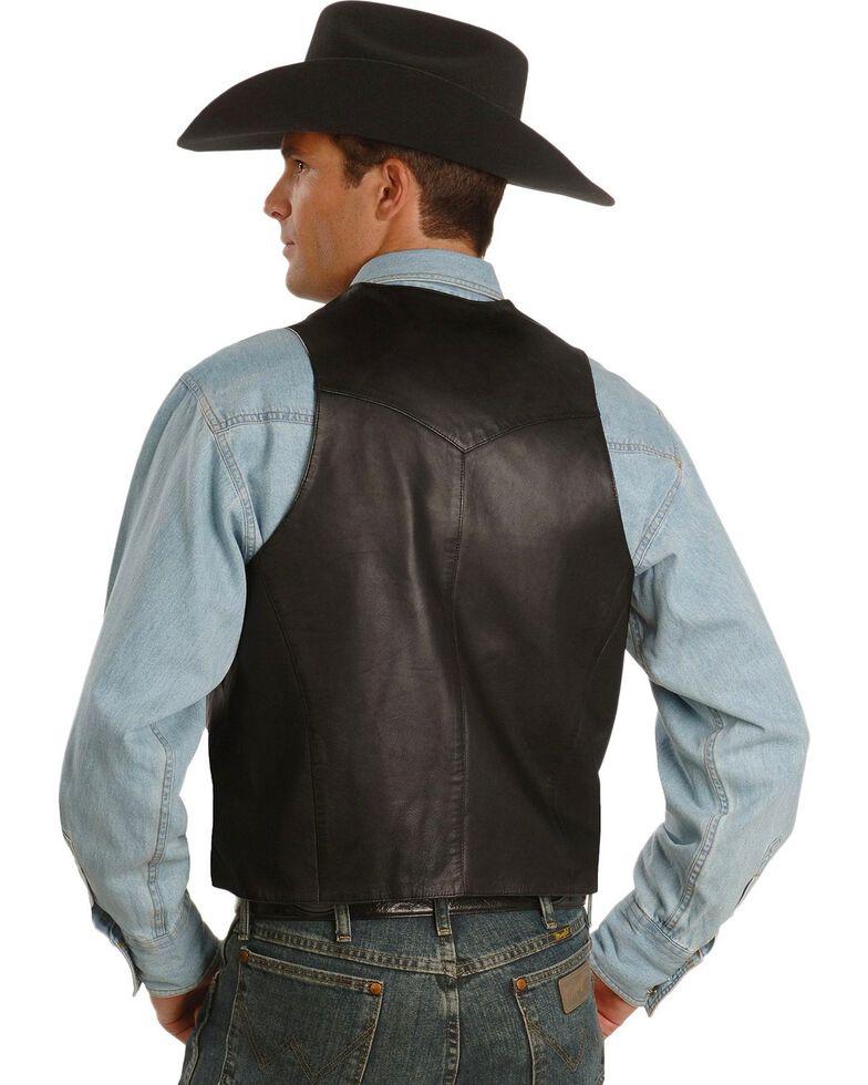 Scully Men's Whipstitch Leather Lapel Vest, Black, hi-res