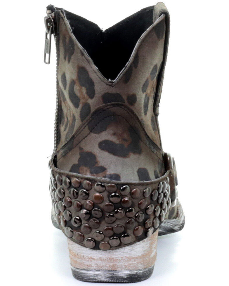 Corral Women's Sage Studded Leopard Print Fashion Booties - Round Toe, Grey, hi-res