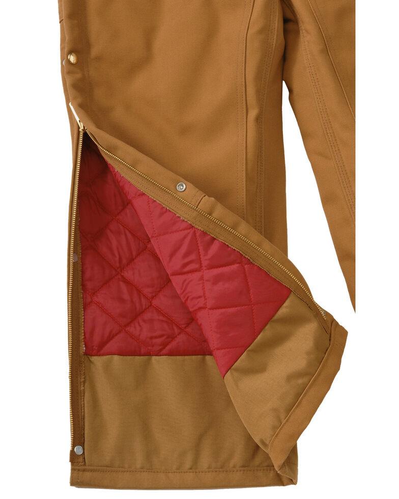 Carhartt Men's Duck Zip-To-Thigh Quilt Lined Bib Overall, Brown, hi-res