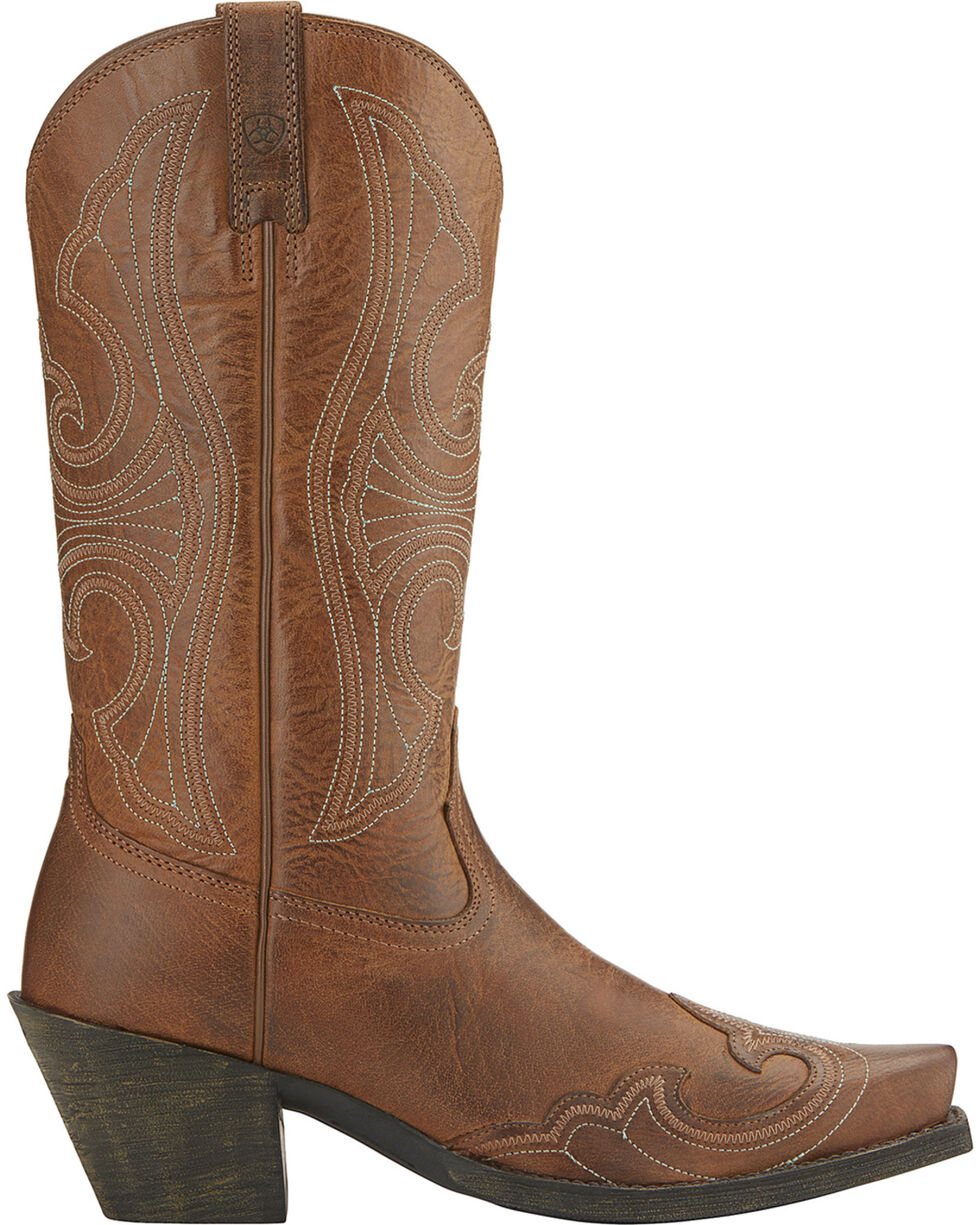 Ariat Women's Round Up Wing Tip Western Boots, Brown, hi-res