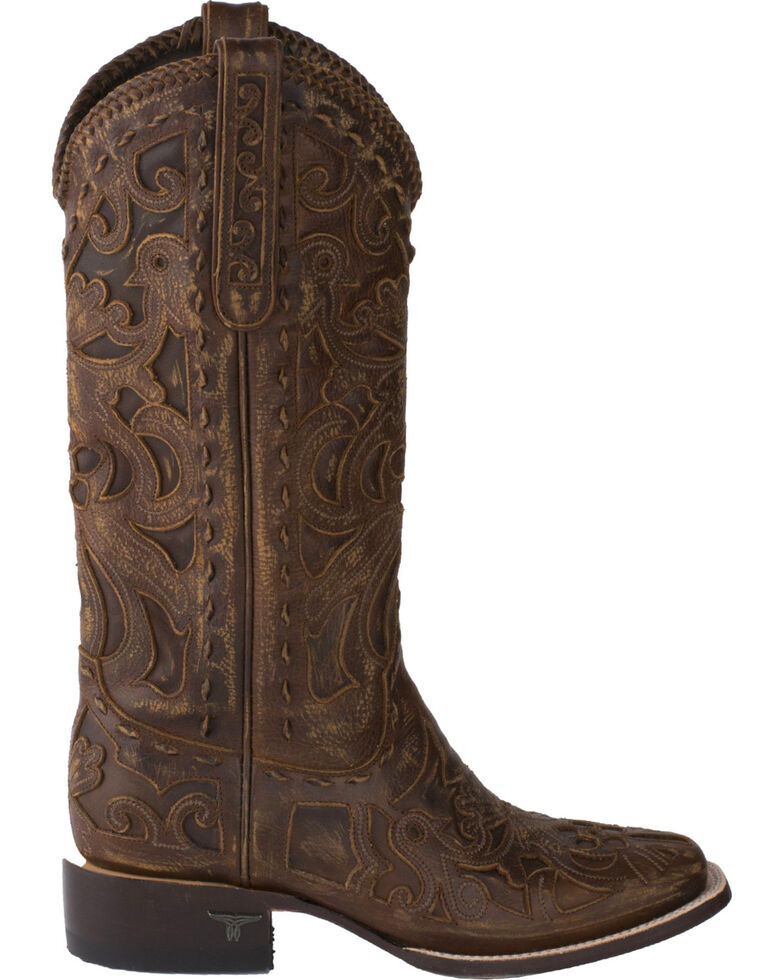 Lane Women's Robin Inlay Cowgirl Boots - Square Toe, Brown, hi-res
