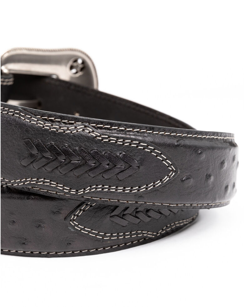 Cody James Men's Black Ostrich Print Embroidered Western Buckle Belt , Black, hi-res