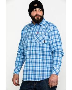 Ariat Men's FR Magnus Retro Plaid Long Sleeve Work Shirt , Blue, hi-res