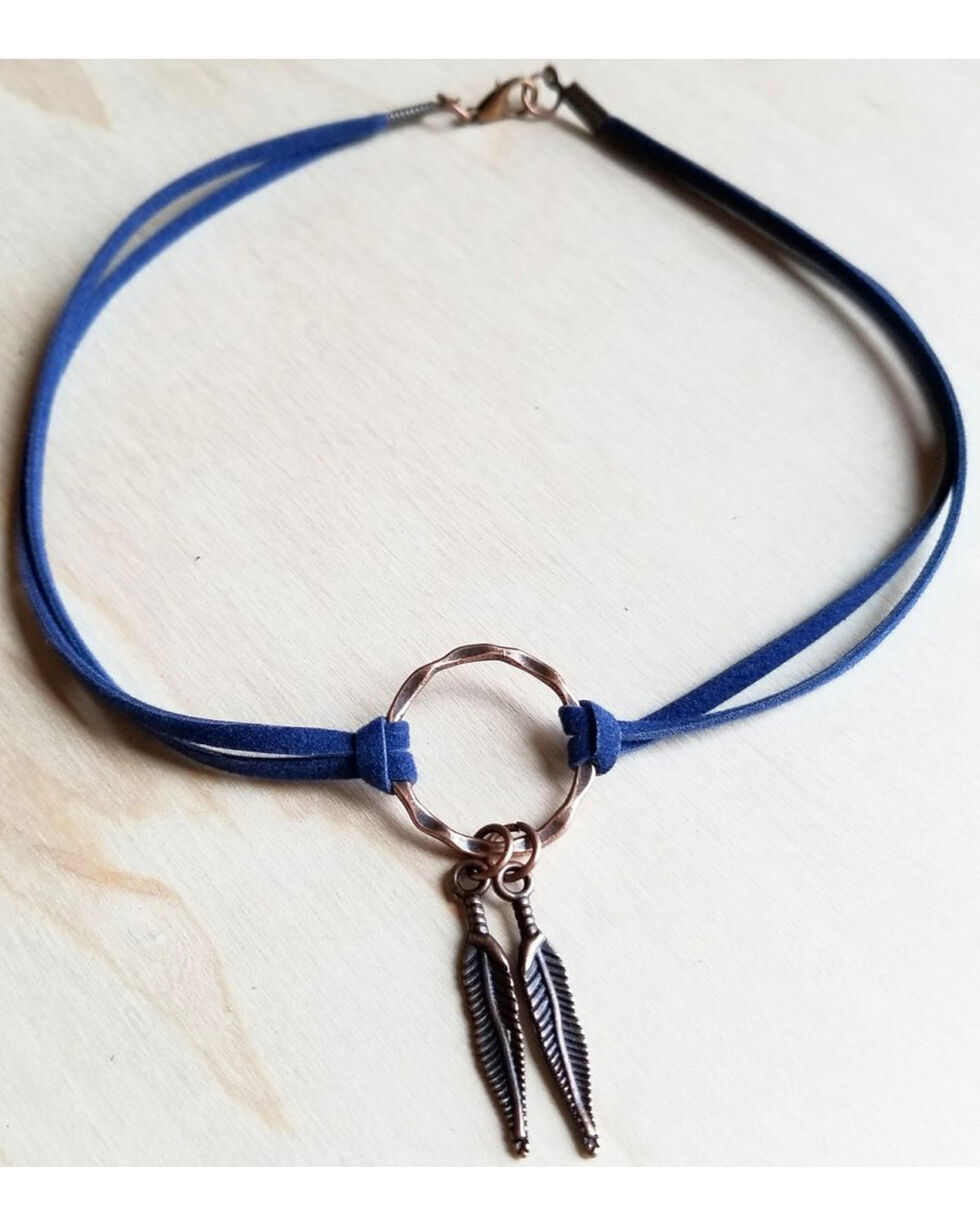 Jewelry Junkie Women's Navy Feather Pendant Choker , Blue, hi-res