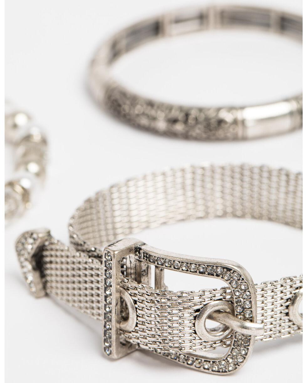 Shyanne Women's Crystal Cross Buckle 3 Pack Bracelet Set, Silver, hi-res