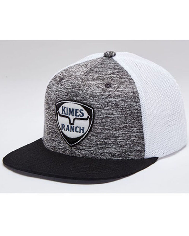Kimes Ranch Men's Silver On Point Shield Logo Patch Mesh-Back Trucker Cap, Silver, hi-res