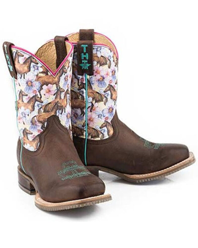 Tin Haul Girls' Chestnut & Daisy Western Boots - Square Toe, Brown, hi-res