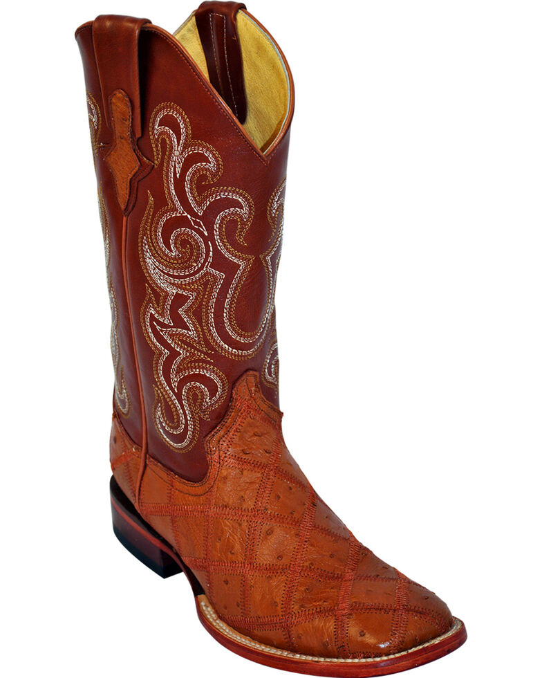 Ferrini Men's Ostrich Patch Exotic Western Boots, Cognac, hi-res
