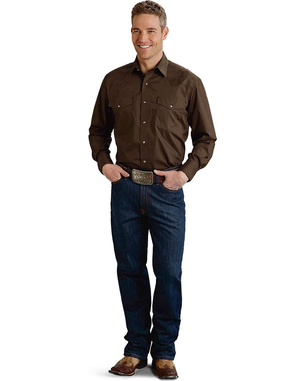 Roper Men's Amarillo Collection Western Shirt, Brown, hi-res
