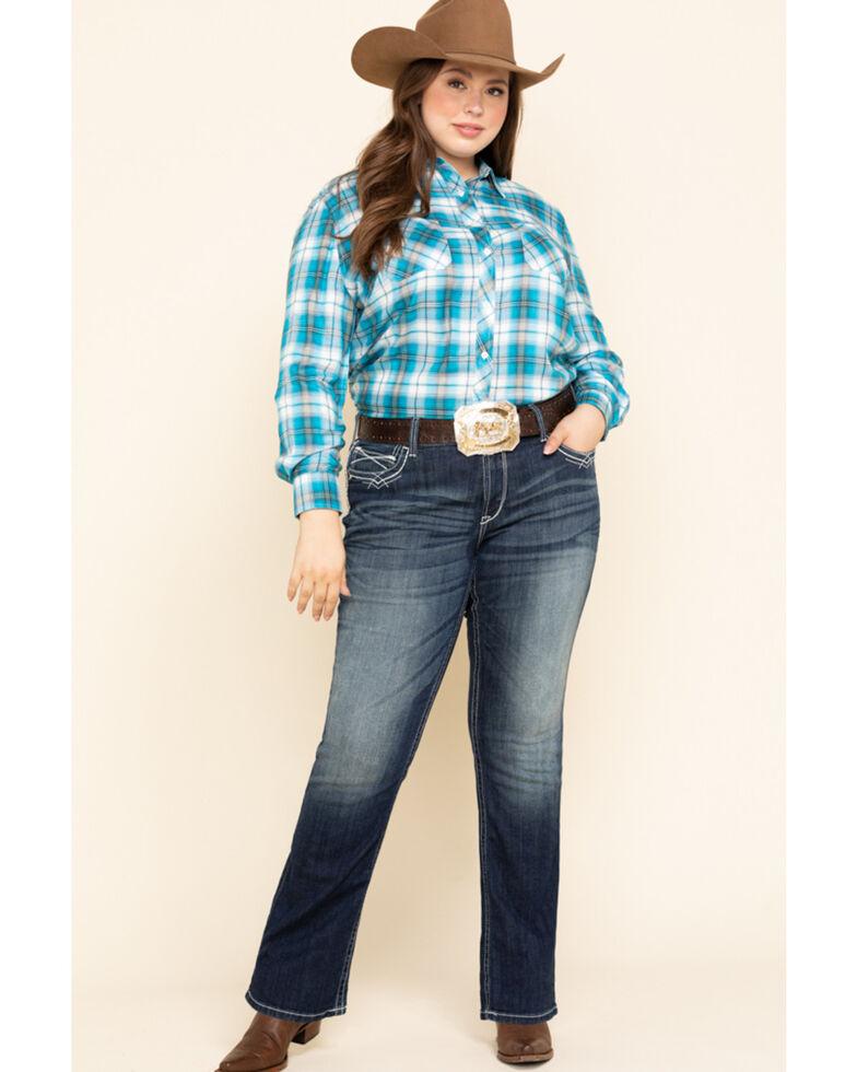 White Label by Panhandle Women's Blue Plaid Button Shirt - Plus, Blue, hi-res