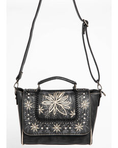 Shyanne Women's Embroidered Floral Satchel, Black, hi-res