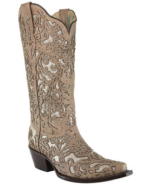 Corral Women's Bone Embroidery Western Boots - Snip Toe, Ivory, hi-res