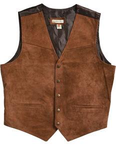Roper Suede Buckle Tie Vest, Brown, hi-res