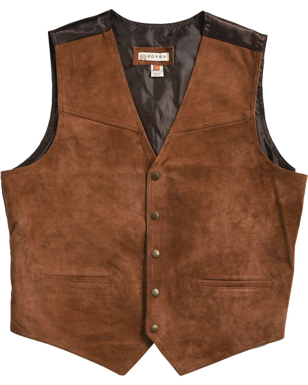 Roper Suede Buckle Tie Vest, Brown, hi-res