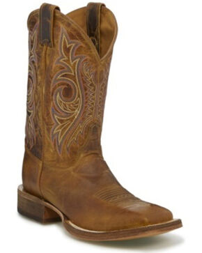 Justin Men's Caddo Summer Western Boots - Wide Square Toe, Tan, hi-res