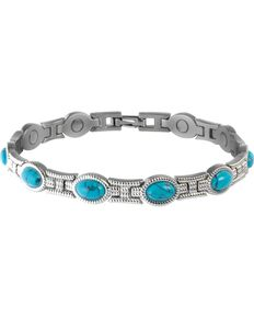 Sabona Ladies' Turquoise Magnetic Bracelet, Two Tone, hi-res