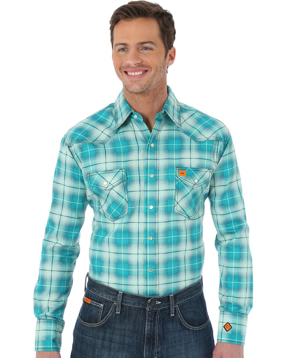 Wrangler Men's Green Flame Resistant  Fashion Plaid Shirt - Big & Tall, Green, hi-res