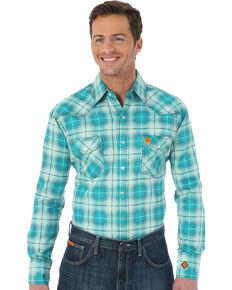 Wrangler Men's Green Flame Resistant  Fashion Plaid Shirt , Green, hi-res