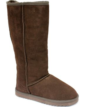 "Dije California Women's 14"" Classic Sheepskin Boots, Chocolate, hi-res"