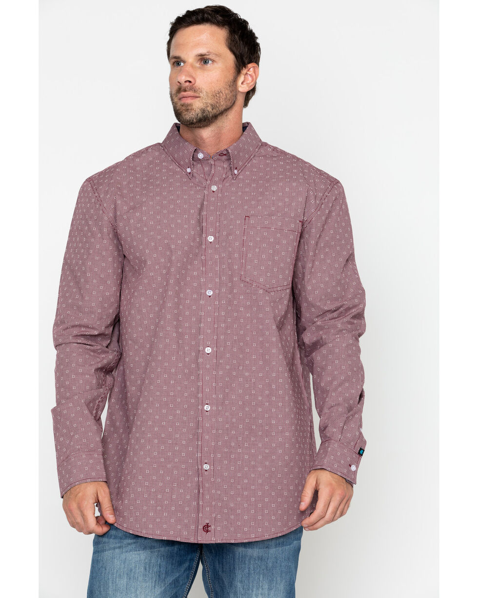 Cody James Core Men's North Star Geo Print Long Sleeve Western Shirt - Tall , Maroon, hi-res