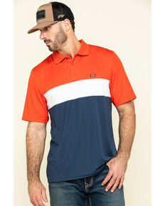 Cinch Men's Multi Color-Blocked Striped Short Sleeve Polo Shirt , Multi, hi-res