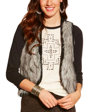 Ariat Women's Emma Fur Vest, Black, hi-res