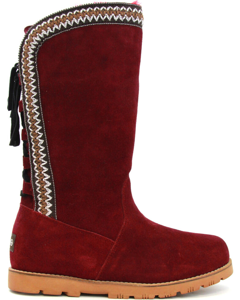 Lamo Women's Madelyn Suede Winter Boots - Round Toe, Burgundy, hi-res