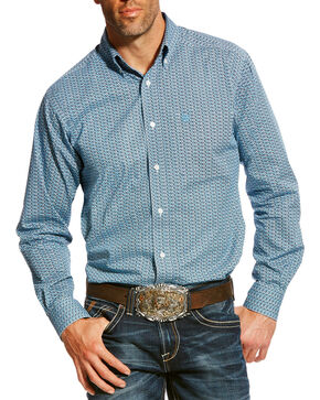 Ariat Men's Blue Adderson Stretch Print Shirt , Multi, hi-res