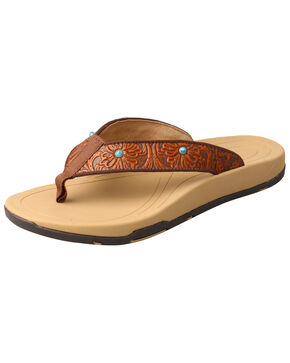 Twisted X Women's Tooled Studded Sandals, Tan, hi-res