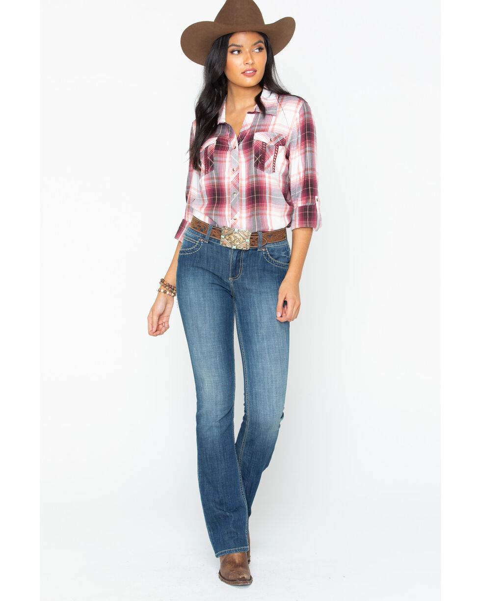 Ely Cattleman Plaid Drapey Boyfriend Shirt , Pink, hi-res