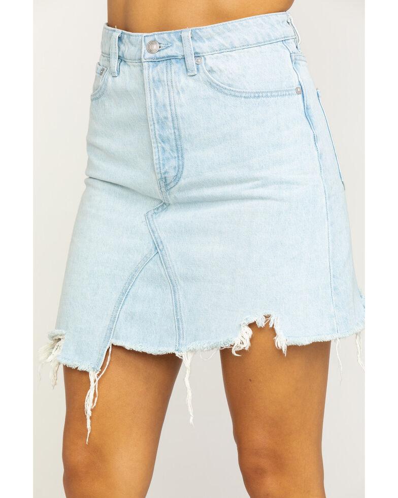 Free People Women's Light Wash Going Rogue Mini Skirt, Blue, hi-res