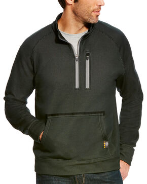 Ariat Men's Rebar 1/4 Zip Pullover - Tall , Black, hi-res