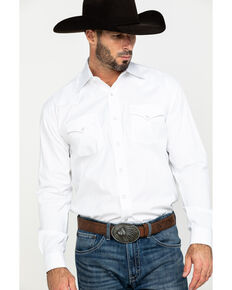Stetson Men's White Solid Logo Long Sleeve Western Shirt , White, hi-res