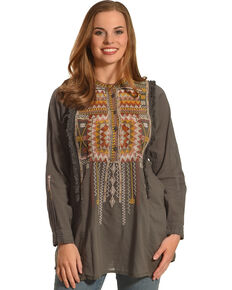 Johnny Was Women's Trilow Cotton Blouse, Grey, hi-res