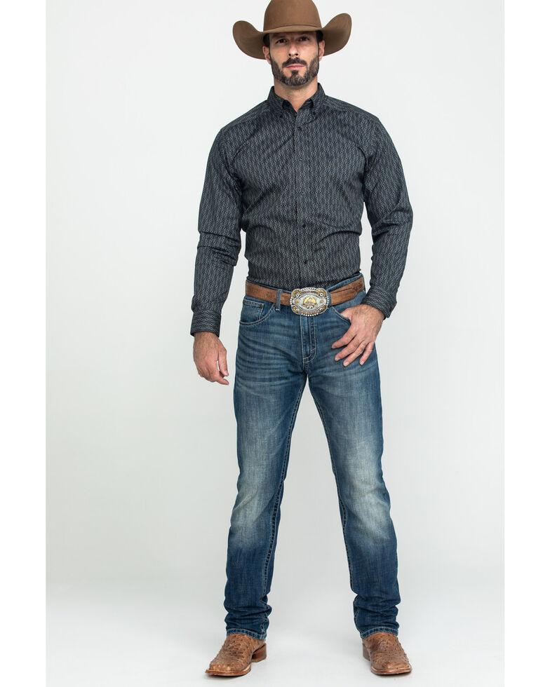 Ariat Men's Hopkinton Stretch Geo Print Fitted Long Sleeve Western Shirt , Grey, hi-res